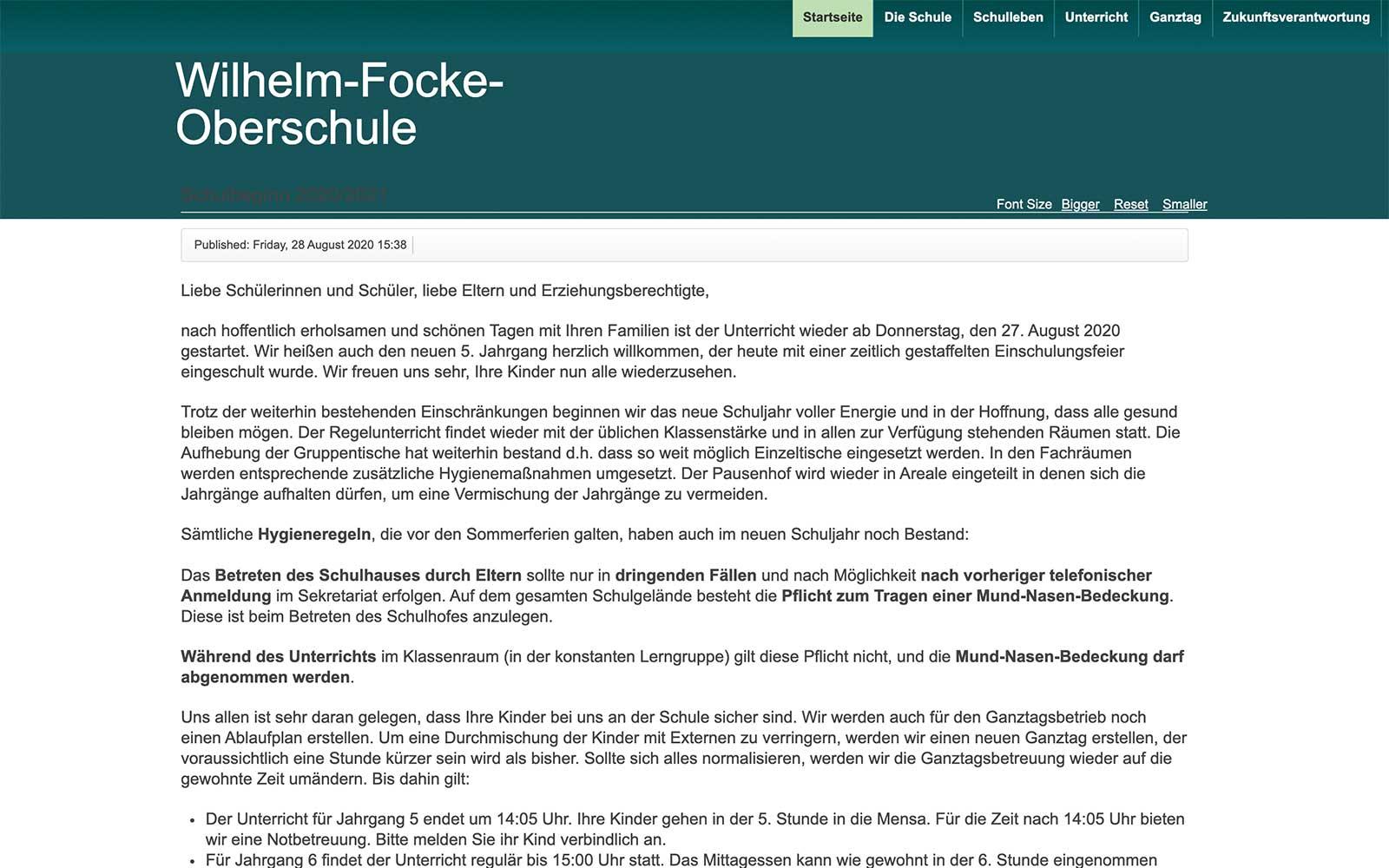 Homepage der WFO ab 08/2020