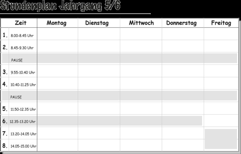 Stundenplan Klassen 5 und 6