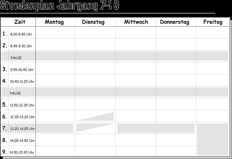 Stundenplan Klassen 7 bis 10